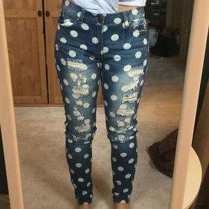 Denim - Polka dot distressed skinny jeans